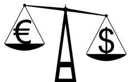 Dollar contre l'euro Photos libres de droits
