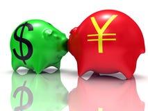 Dollar contre Yens Images libres de droits
