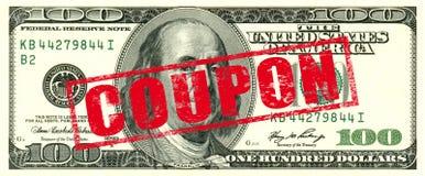 100 Dollar Coupon. 100 Dollar bill,  coupon stamp Stock Photo