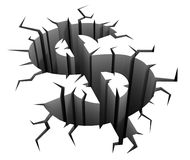 Dollar crash 3d concept Stock Photography