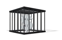 Dollar crime. Dollar sign in a cage on white background - 3d illustration Royalty Free Stock Images