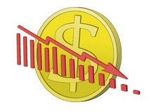 Dollar Crisis. Dollar coin with declining graph in front. Symbol for declining dollar royalty free illustration