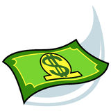 Dollar Crisis. A metaphorical illustration of the falling dollar during the period of economic crisis, isolated on a white background Royalty Free Stock Photos