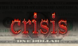 Dollar crisis. Burning ember crisis word over dollar bill background Royalty Free Stock Photos