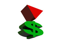 Dollar crisis. Images of symbolics of dollar with a red triangle from above. Abstraction on social subjects Royalty Free Stock Images
