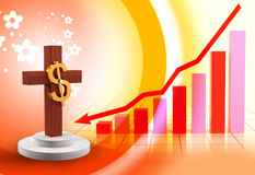 Dollar and cross Royalty Free Stock Images