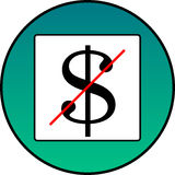 The dollar is crossed out Royalty Free Stock Photography