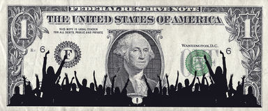 Dollar Crowd. A Crowd Silhouette and the American Dollar Royalty Free Stock Photos