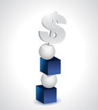 Dollar, cubes et illustration d'équilibre de sphères Images stock