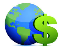 Dollar currency around the globe Royalty Free Stock Photography