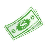 Dollar currency banknote green  illustration Royalty Free Stock Images