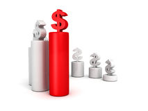 Dollar currency bar chart diagram with red top Royalty Free Stock Images