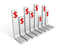 Dollar currency bar graph on white background Stock Photo