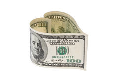 Dollar Currency bill in heart shape Royalty Free Stock Photo