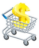 Dollar currency cart concept. Dollar currency trolley concept of dollar sign in a supermarket shopping cart or trolley Royalty Free Stock Photos