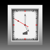 Dollar currency clock vector.Time is money in dollar currency signed with black shadow Royalty Free Stock Photo