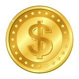 Dollar currency gold coin with stars. Vector illustration isolated on white background. Editable elements and glare. Rich. EPS10 Royalty Free Stock Images