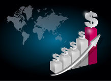 Dollar currency graph chart illustration Royalty Free Stock Photography