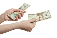 Dollar currency in hand Stock Photo