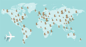 The dollar currency money on the world map, vector illustration Stock Photography