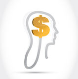 Dollar currency on my mind illustration Royalty Free Stock Photos