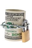 Dollar Currency notes are block off with a lock royalty free stock photos