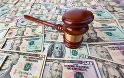 Dollar Currency notes and Gavel Stock Photography