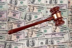 Dollar Currency notes with gavel Royalty Free Stock Photo