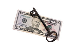 Dollar Currency notes and key Stock Image