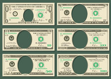 Dollar currency notes vector money templates. Dollar currency notes vector money. Templates of dollar notes with space for presidents, illustration american Royalty Free Stock Image