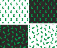 Dollar Currency Sign Aligned & Random Seamless Pattern Color Set Stock Photography