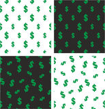 Dollar Currency Sign Big & Small Aligned & Random Seamless Pattern Color Set Royalty Free Stock Photo