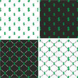 Dollar Currency Sign Big & Small Seamless Pattern Color Set Royalty Free Stock Photography