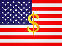 Dollar Currency Sign on the center of the United States Flag Stock Image