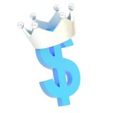 Dollar currency sign in a crown. Dollar currency blue sign symbol in a silver metal crown isolated over white background Royalty Free Stock Photos