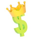 Dollar currency sign in a crown. Dollar currency green sign symbol in a yellow crown isolated over white background Royalty Free Stock Photography