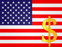 Dollar Currency Sign over the United States Flag Stock Image