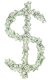Dollar currency sign $ shaped with usd banknotes Stock Image