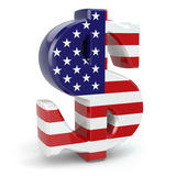 Dollar currency sign and USA flag. Stock Image