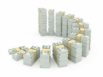 Dollar currency stacks Royalty Free Stock Photos
