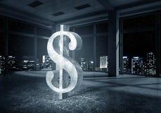 Dollar currency symbol. Big dollar symbol on modern office window background royalty free stock photography