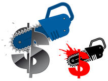 Dollar currency symbol destroyed with chainsaw Royalty Free Stock Photography