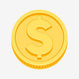 Dollar symbol on gold coin Royalty Free Stock Photos