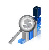Dollar currency under review. successful graph Stock Images
