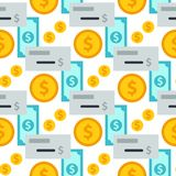 Dollar currency vector bank finance business seamless pattern money background. Wrapping financial economy gold sign Royalty Free Stock Photo