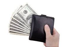 Dollar currency wallet in hand. Human hand holding paper dollar currency in wallet Stock Photos