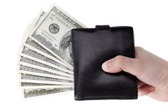 Dollar currency wallet in hand. Human hand holding paper dollar currency in wallet Royalty Free Stock Photos