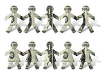 Dollar Cut Outs. Photo-illustration of paper dollar cutouts stock photos