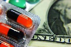 Dollar, dépense pour la santé ou aide financière Images libres de droits