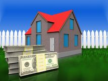Dollar 3d über Gras und Zaun Lizenzfreies Stockbild